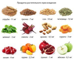 Какие железосодержащие продукты нужно есть при анемии